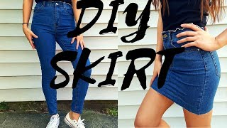 DIY ANY OLD JEANS TO A SKIRT! SIMPLE & EASY | Nancy Hui