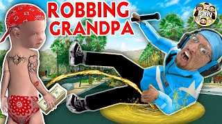 I ROBBED GRANDPA and Soaked Him in .... WHAT?  (FGTeeV Gangster Granny Weird Game)