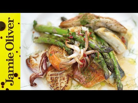 Asparagus & Mixed Fish Grill   Jamie Oliver
