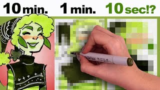 GAH! TOO FAST! | 10 Minute, 1 minute, 10 Second Challenge + More | Copic Markers in Sketchbook