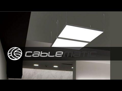 Kit de montaje de cables de acero para panel LED colgante distribuido por CABLEMATIC ®