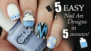 FIVE IN FIVE | Easy Blue Nail Art Designs | Nailed It NZ