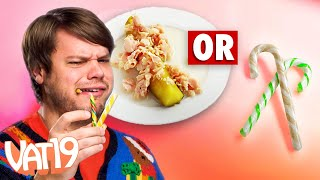 Real vs Candy Cane Challenge // Clam-Flavored Candy Canes?!