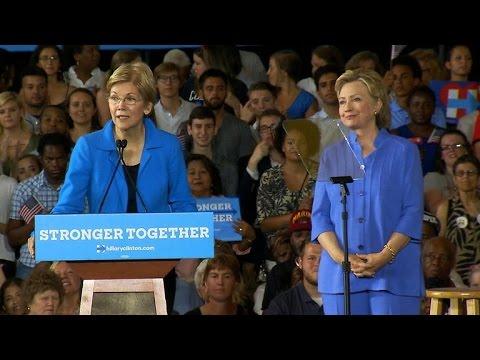 Full Video: Hillary Clinton and Elizabeth Warren take on Donald Trump
