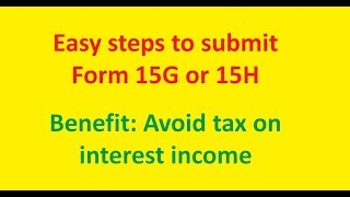 Form 15G & 15H [Hindi] | How to fill online (2018)