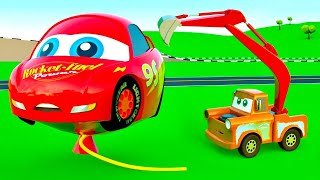 EXCAVATOR Tow Truck Cars,  Construction Vehicles, Mack Garbage Truck and Mcqueen Cars Friends