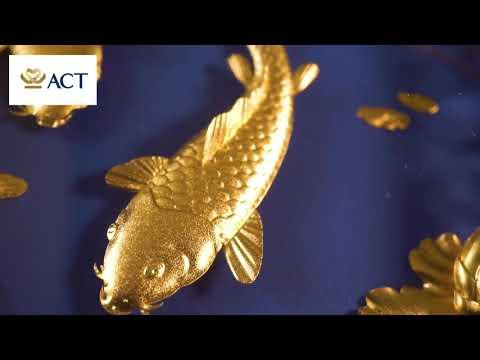 Tranh cá chép hoa sen dát vàng khung CNC (25x32cm)