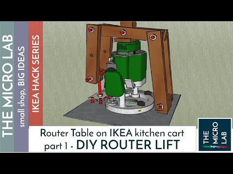 Ultra cheap plunge router table and lift bosch pof 1200 ae diy easy and cheap router lift mechanism on ikea kitchen cart part 1 keyboard keysfo Choice Image