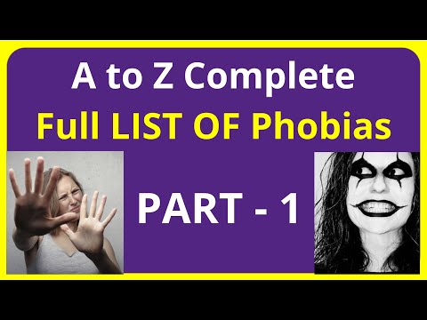 A to Z Complete Full LIST OF Phobias - PART - 1