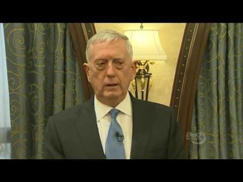Defense Secretary Jim Mattis speaks with reporters following Saudi Arabia meeting