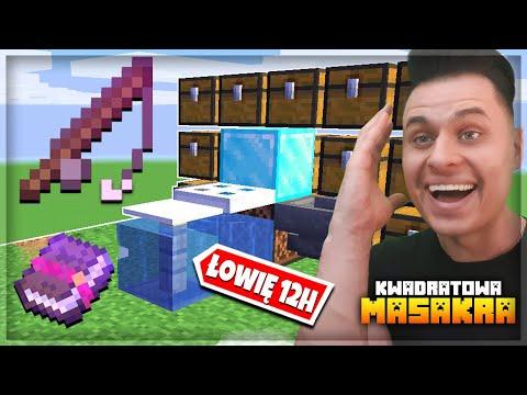 Zbudowałem AUTOMATYCZNĄ Farmę RYB, która Łowiła 12h w Minecraft Kwadratowa Masakra!
