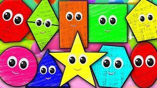 Ten Little Shapes | Shapes Song | Crayons Nursery Rhymes Songs For Children | Baby Rhymes