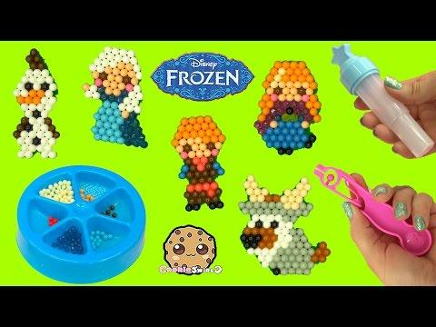 Make Disney Frozen Queen Elsa, Princess Anna, Olaf, Kristoff with Water AquaBeads Craft Playset