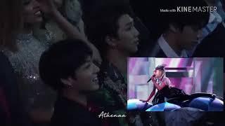 BTS (Jungkook, Namjoon and Jin) Reacts to Ariana Grande BBMAS AWARDS