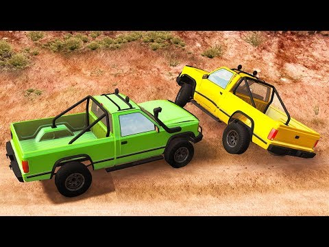 INTENSE OFF-ROAD TRUCK CHASE ENDS IN DISASTER! -  BeamNG Drive HighDef's Chase Pack Mod Part 2