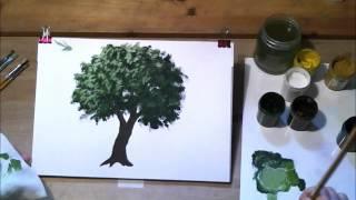 Смотреть онлайн Как поэтапно нарисовать дерево гуашью