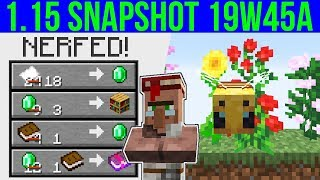 Minecraft 1.15 Snapshot 19w45a Librarian Nerfed! New Bee AI & Many Changes