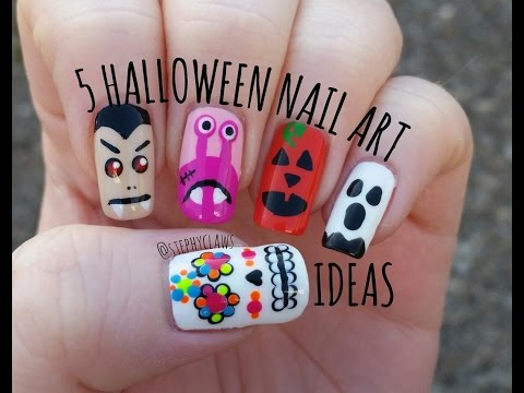 Simple Mix & Match Halloween Nail Art Tutorial. 5 Halloween Nail Ideas | Stephyclaws