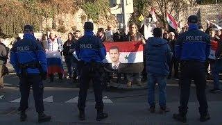 Conférence Genève II: Des Pro-Assad Manifestent à Montreux - 22/01