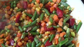 """тушеные овощи""""мексиканская смесь"""" с куриной грудкой"""