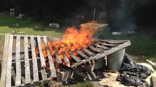 Jumbo Wooden Crate Set On Fire