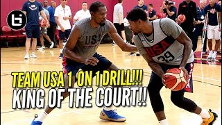 USA BASKETBALL CRAZY 1 ON 1 DRILL! Kevin Durant vs Paul George & More!!!