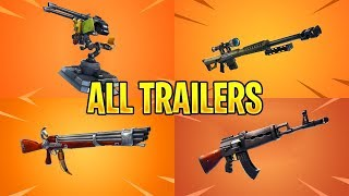 Fortnite All *NEW ITEM* Trailers (Mounted Turret, Heavy AR, Heavy Sniper)