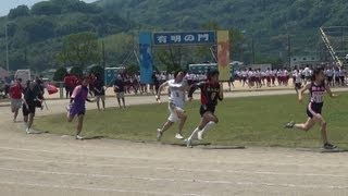 花の女子高生 部活女子リレー 熊本西高体育祭 2013