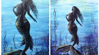 Acrylic Painting//MERMAID PAINTING//under Water Acrylic Painting