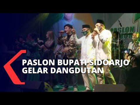 viral paslon bupati sidoarjo nomor urut gelar kampanye dangdutan