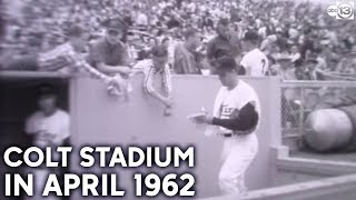 Colt Stadium Houston film footage from April 10, 1962
