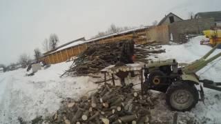 Мотоблок ZUBR та саморобна циркулярка.Пиляєм дрова.Огляд циркулярки.