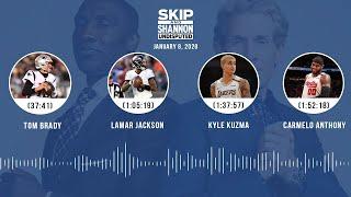 Tom Brady, Lamar Jackson, Kyle Kuzma, Carmelo Anthony (1/8/20) | UNDISPUTED Audio Podcast