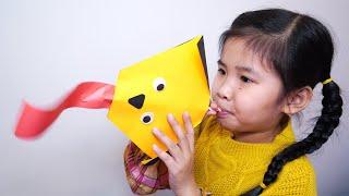 Làm Con Chó Thè Lưỡi Bằng Giấy | DIY Paper Crafts For Kids