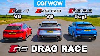 Audi RSQ8 vs RS4 vs RSQ3: DRAG RACE *V8 vs V6 vs 5cyl*