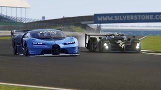 Battle LMP Bentley Speed 8 vs  Bugatti GT Vision at Silverstone