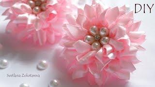 Цветочки пушистики из атласной ленты Канзаши