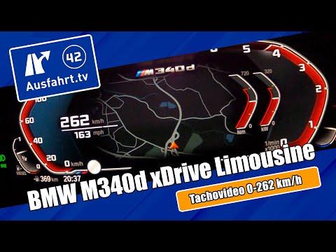 Tachovideo BMW M340d xDrive  Limousine (G20) 0-100 kmh kph 0-60 mph Beschleunigung Acceleration