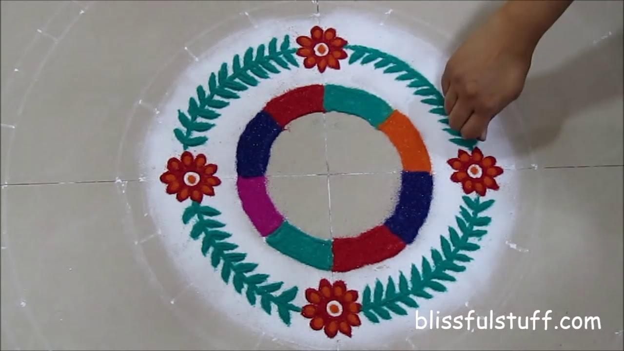 unique multicolored rangoli design by poonam borkar