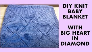 DIY KNIT BABY BLANKET WITH HEART DESIGN