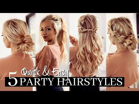 5 QUICK &amp EASY PARTY HAIRSTYLES / HEATLESS!