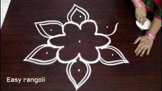 easy rangoli designs with 5x3 dots || simple kolam designs with dots || muggulu designs with dots
