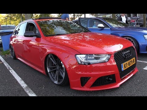 STANCED Audi RS4 with ADV.1 Wheels - SOUNDS & Fast Acceleration!