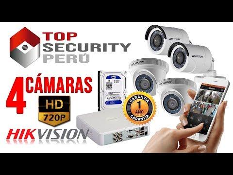 KIT DE 4 CÁMARAS HD 720p HIKVISION - TOP SECURITY PERU