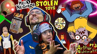 HELLO NEIGHBOR TOYS stolen by Crazy Cartoon!  Escape His House = Get Them Back (FGTEEV Challenge)
