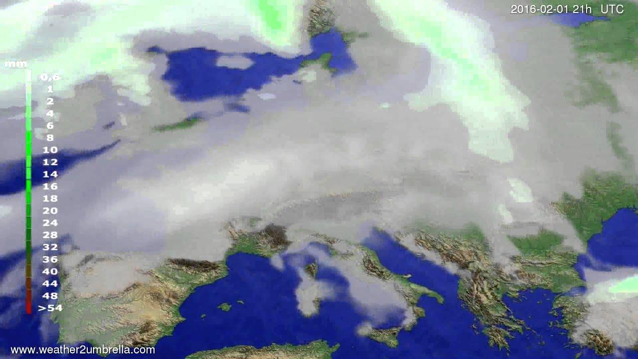 Precipitation forecast Europe 2016-01-29