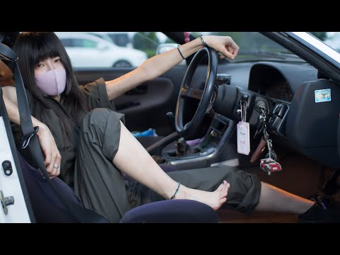 25才ノーパンノーブラ女性整備士の愛車はS13。 - YouTube