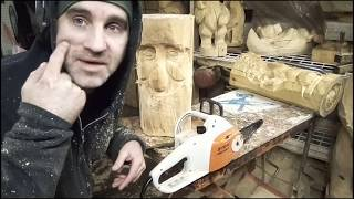 Chainsaw Carving Face Features Beginner Tips Wizard Wood Spirit