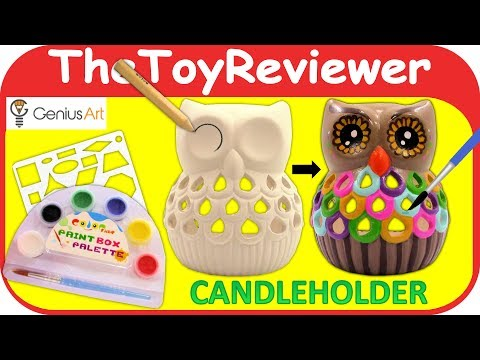 Genius Art Owl Candle Holder DIY Painting Kit Craft Art Paint Unboxing Toy Review by TheToyReviewer