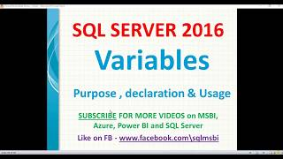 Variables in Sql Server | sql variables declaration